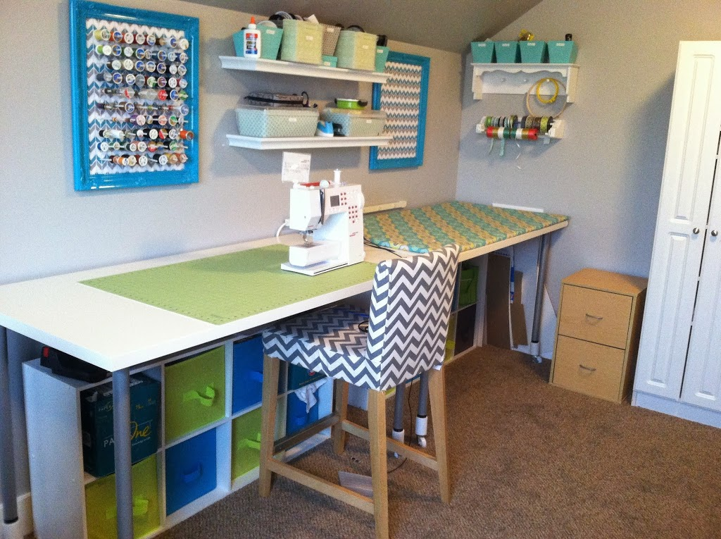 Cute Thread Rack, Sewing Room, Blue and Green