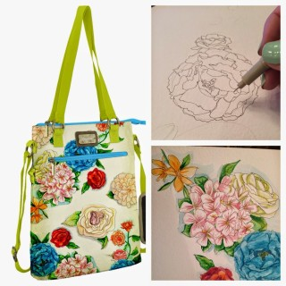 Watercolor Floral Print Bag