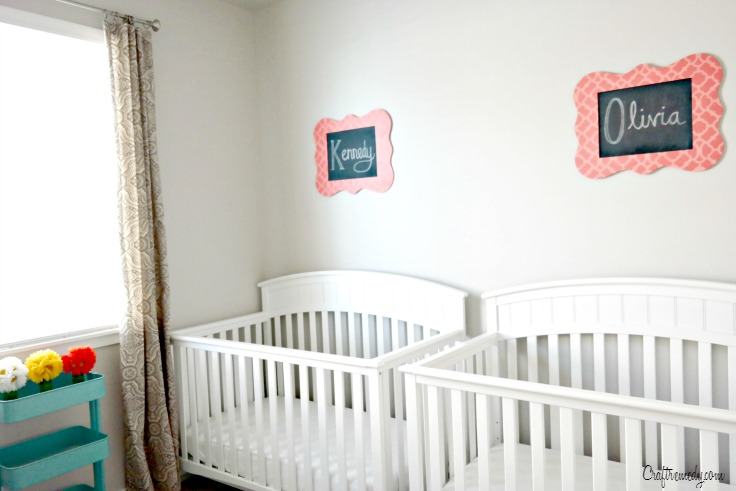 Cute Baby Room Chalkboard Signs! How to make chalkboard signs using a stencil.