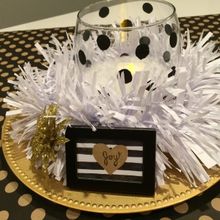 Christmas Table Centerpiece – Black, Gold, and White