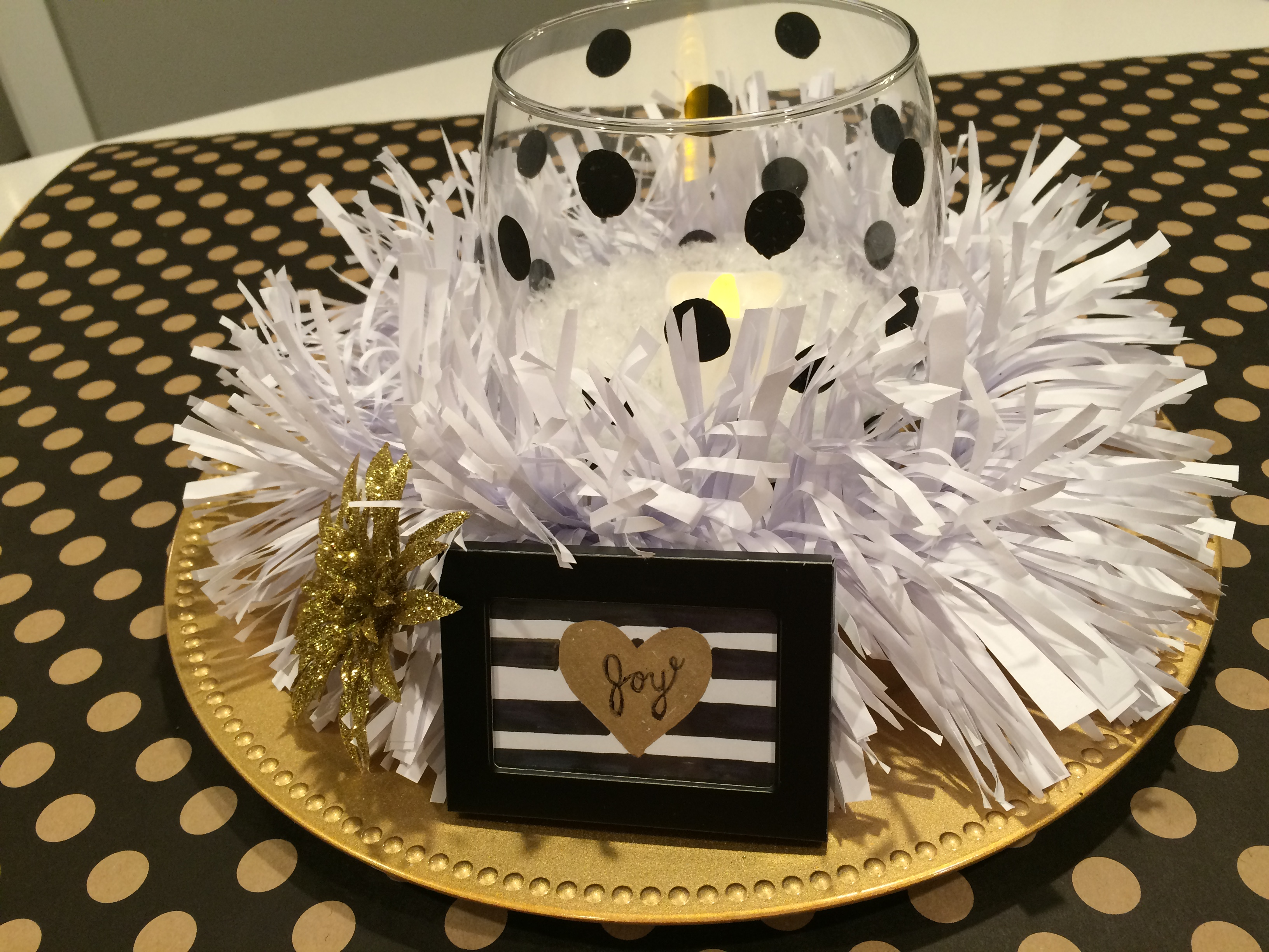 Christmas table centerpiece black gold and white