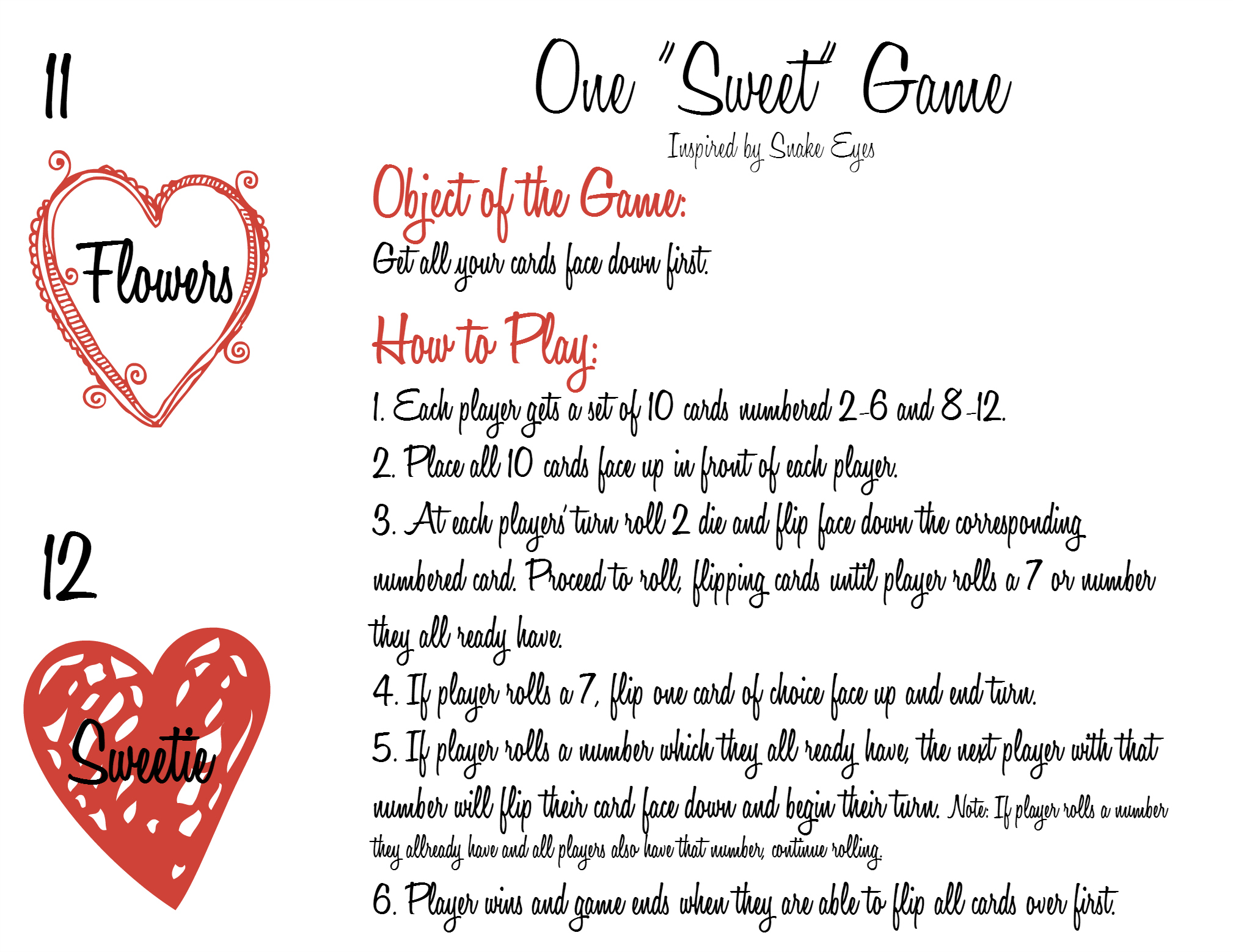 Valentines Card Game Printables 11-12 and Instructions