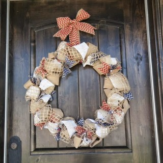 Chevron Burlap 4th of July Wreath