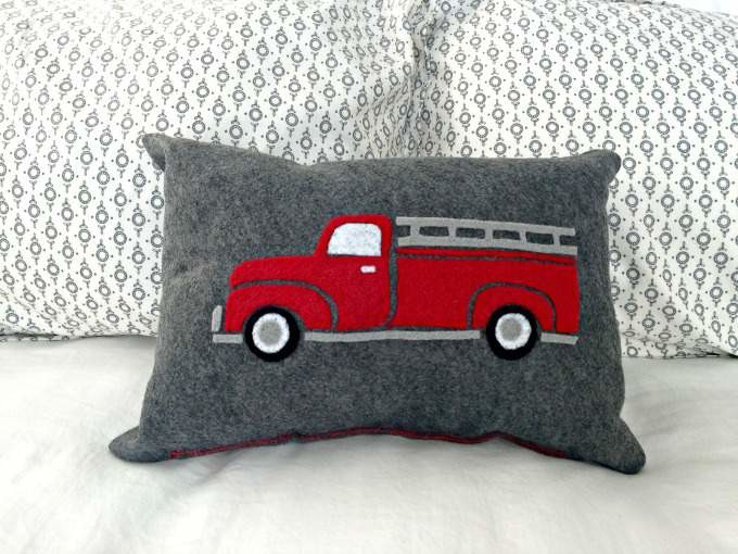 Vintage Fire truck felted pillow