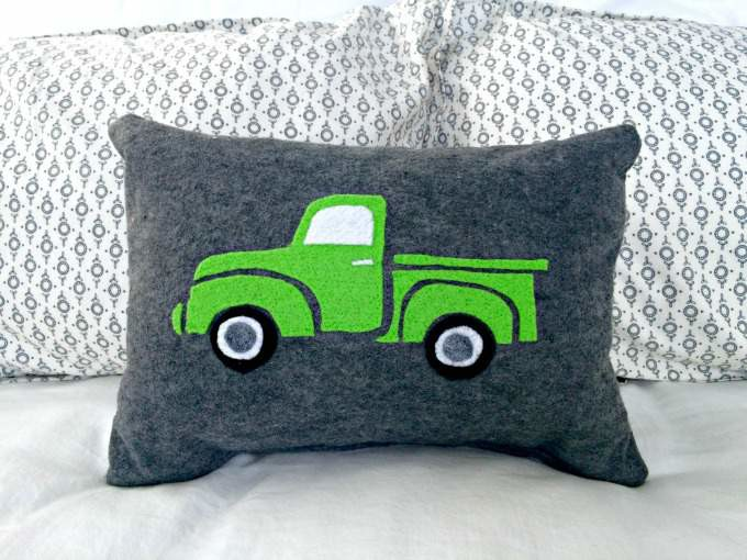 Green Vintage Ford Truck Felted Pillow