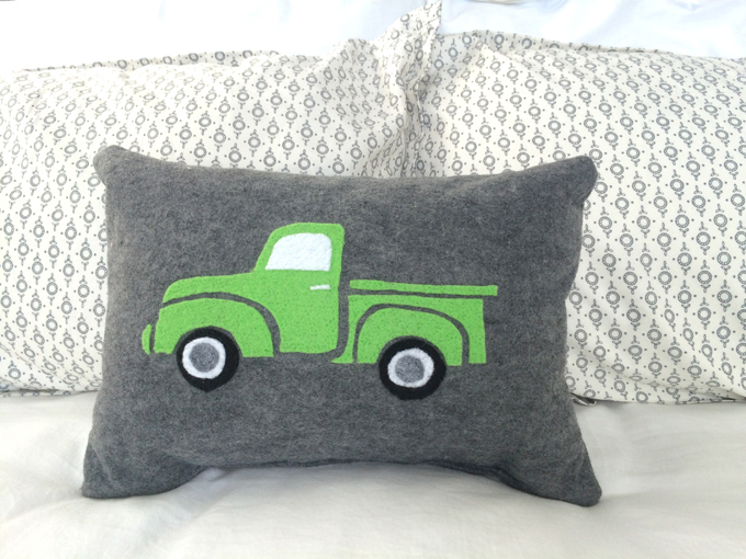 green-vintage-felt-truck-pillow