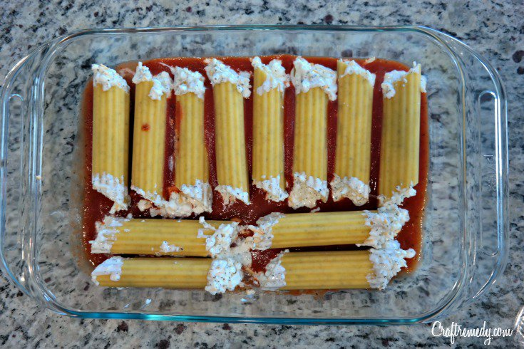 No Boil  Manicotti. Perfect for those picky eaters and adults alike.