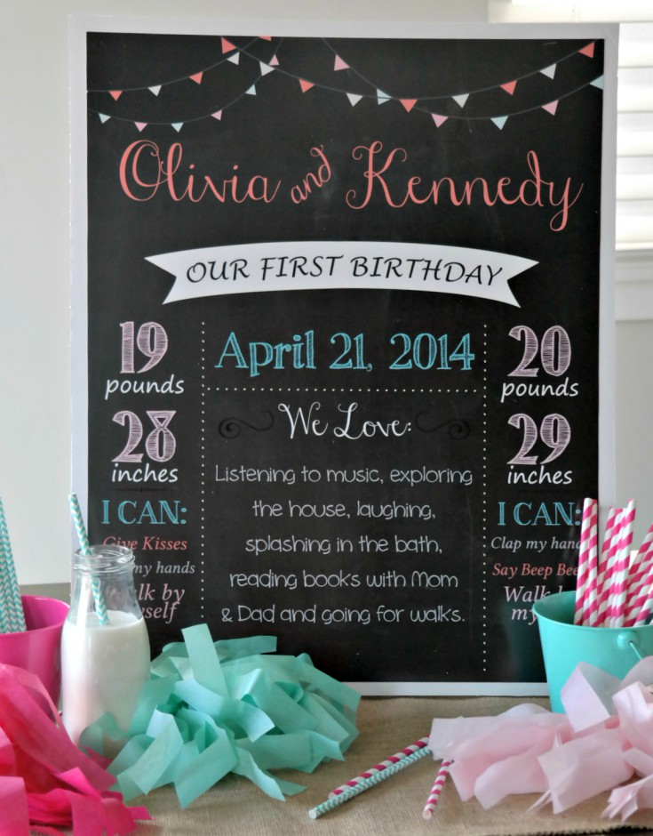 Twins Birthday Chalkboard Tiffany Blue and Pink