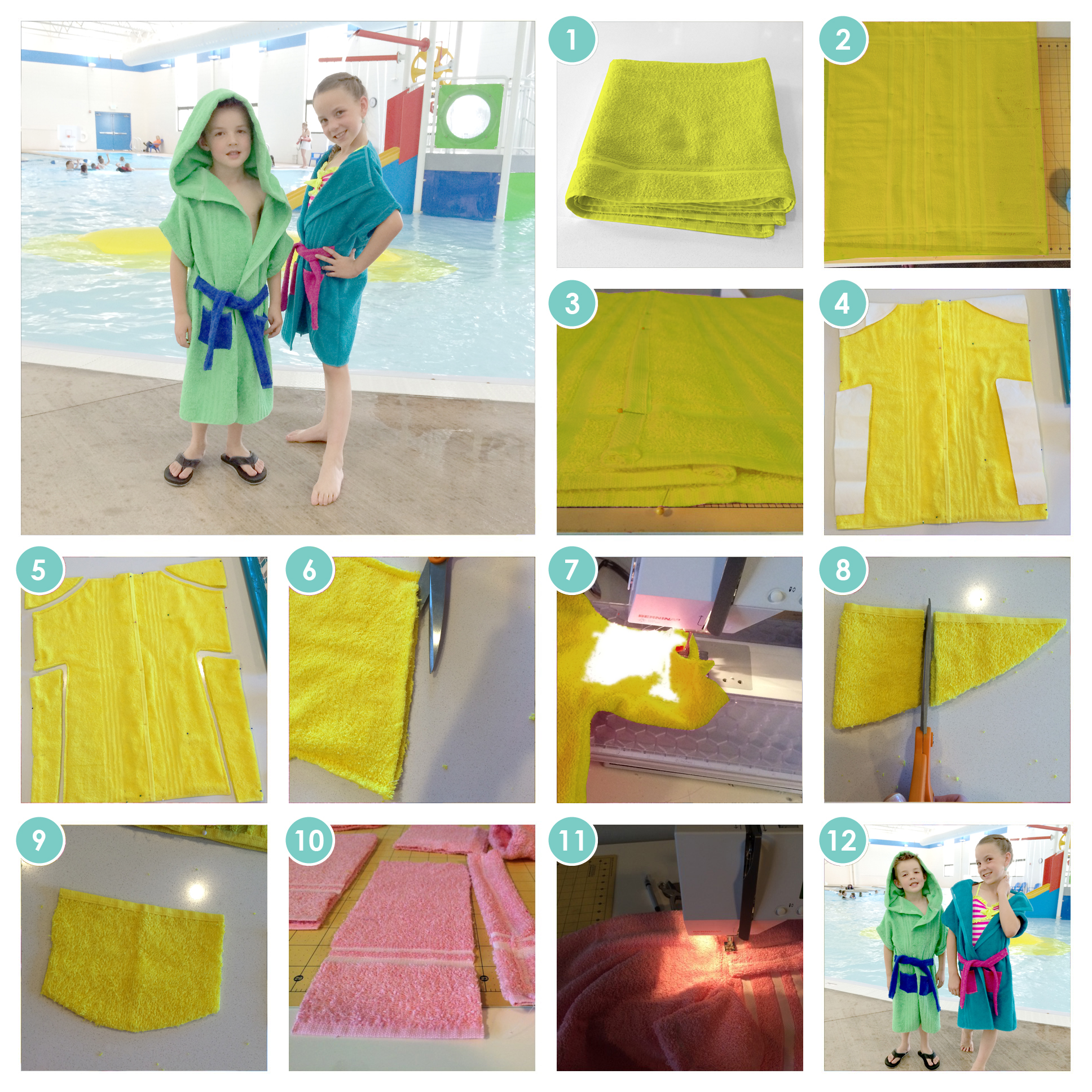 1 Towel Bathrobes Easy Sewing Project Patterns Craft Remedy