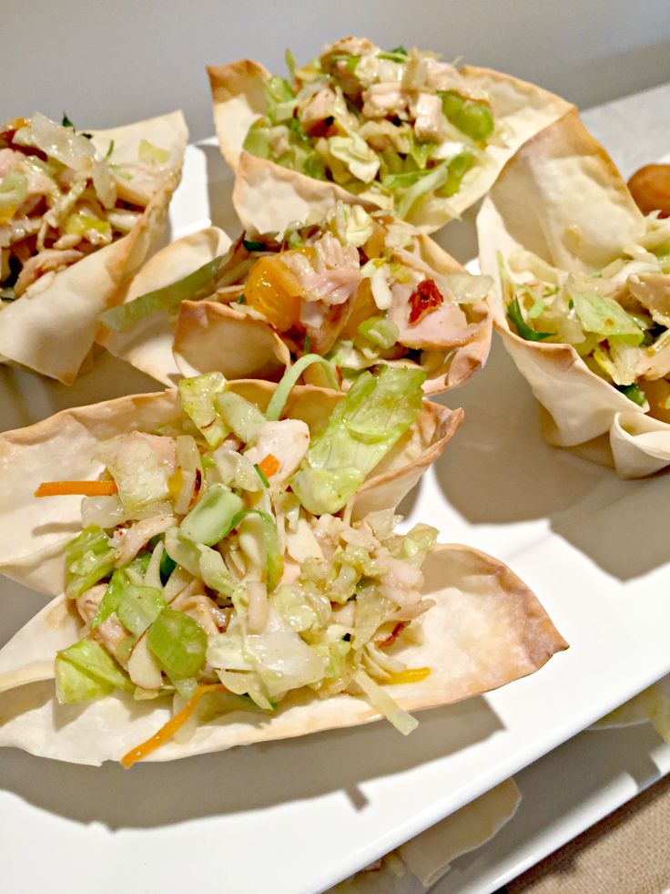 Single Serving Chinese Chicken Salad perfect for a family party, bridal or baby shower