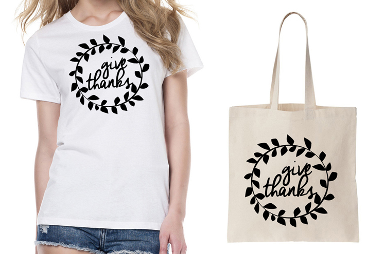 Brooklyn and Bailey DIY T Shirts Give Thanks Iron on