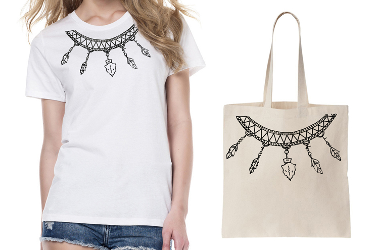 Brooklyn and Bailey DIY T Shirts: Feather Tribal Necklace