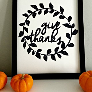 Give Thanks Glittered Wall Art