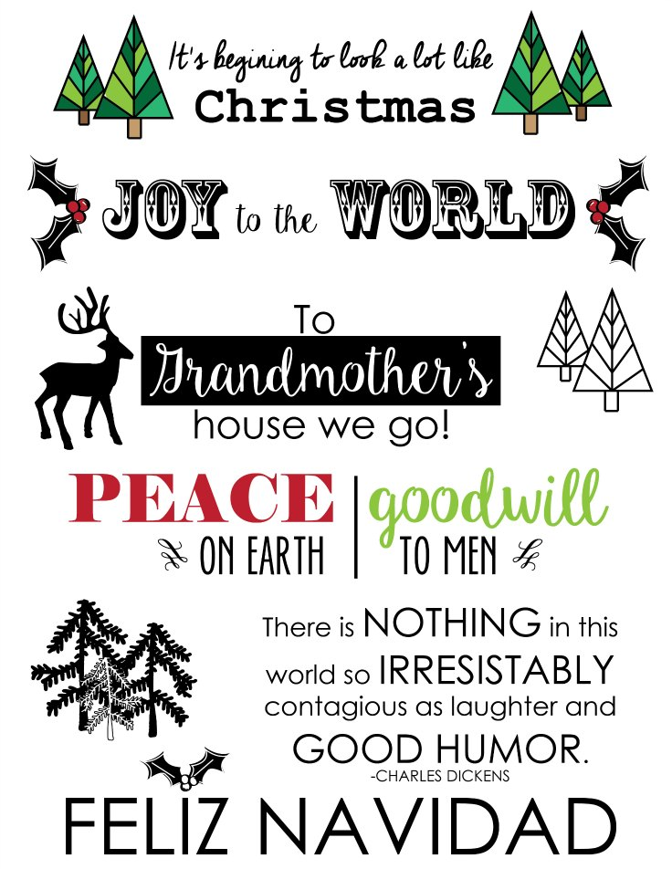 Make your own Christmas Gift using these free printables to add to hand towels, place mats or table runners!