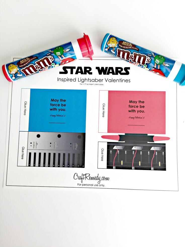 image relating to Lightsaber Printable identified as Star Wars Valentines Influenced Lightsabers - Craft Solution