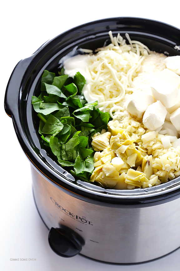 """Super Bowl Appetizers: Slow Cooker Spinach Artichoke Dip"""" Gimme Some Oven"""