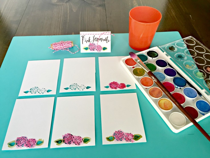 Pretty Pink Peony DIY Name Cards for a dinner party + Free Cricut Explore cut files