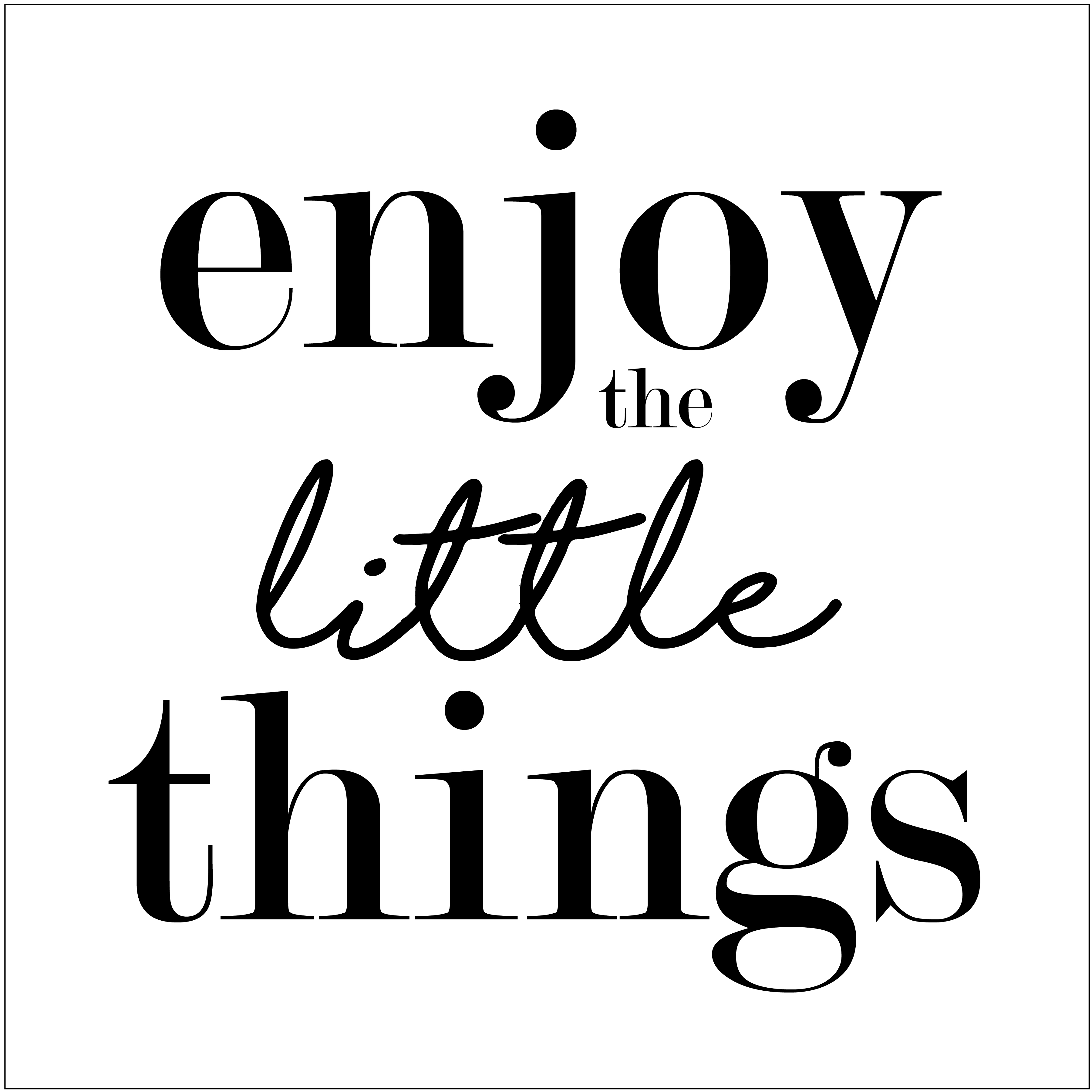 "Enjoy the Little things 12"" x 12"" printable or cut file for DIY wood sign"