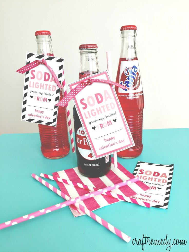 "Easy to print, cut and put together this thoughtful teacher valentine gift! ""Soda lighted you're my teacher!"" printable"
