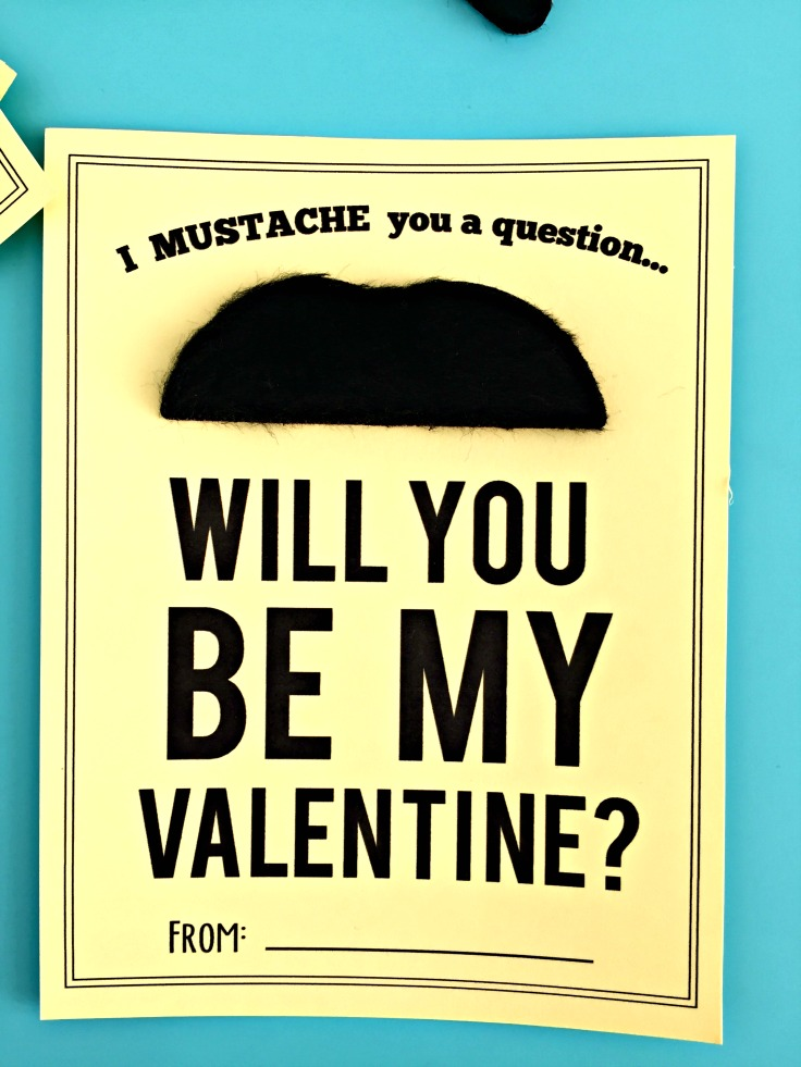Easy girl or boy valentine. I mustache you a question...will you be my valentine? Simple mustache valentine! http://amzn.to/2keXwA4
