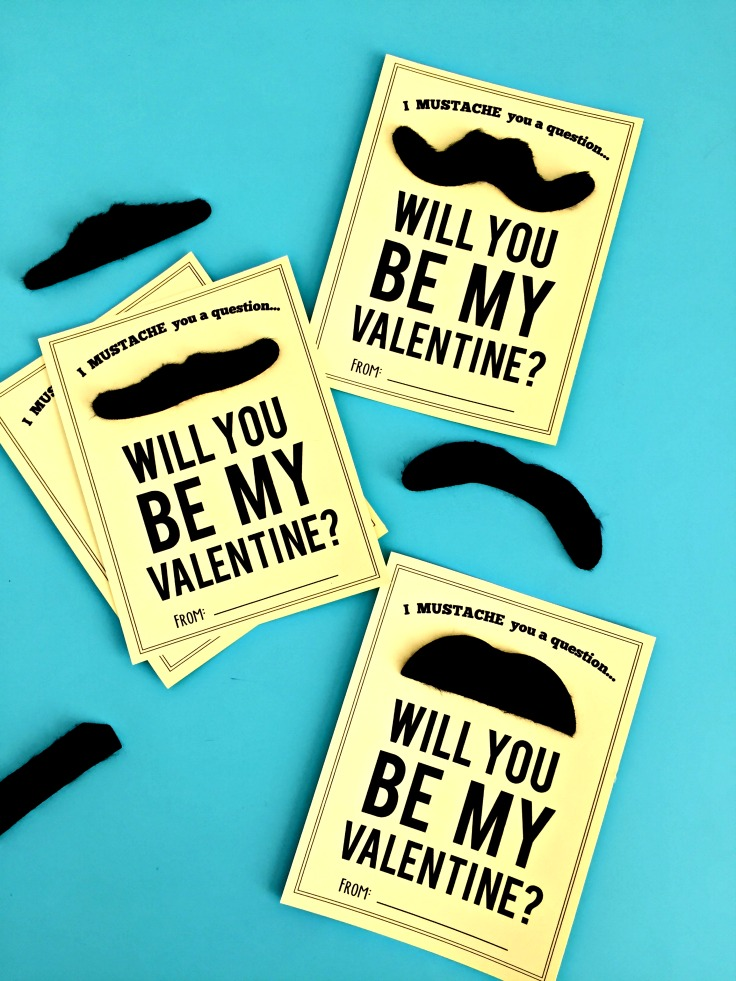 Easy girl or boy valentine. I mustache you a question...will you be my valentine? Simple mustache valentine!