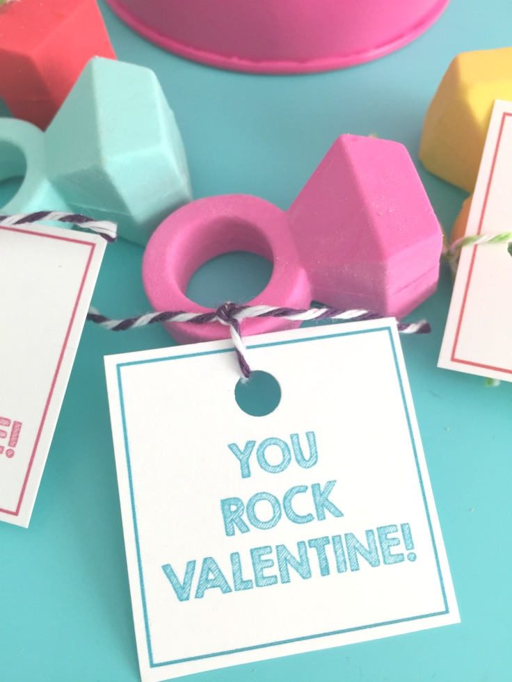 You Rock Valentine Printable for Simple Girls Valentines using Diamond Eraser Rings! So cute and such an easy Valentine!