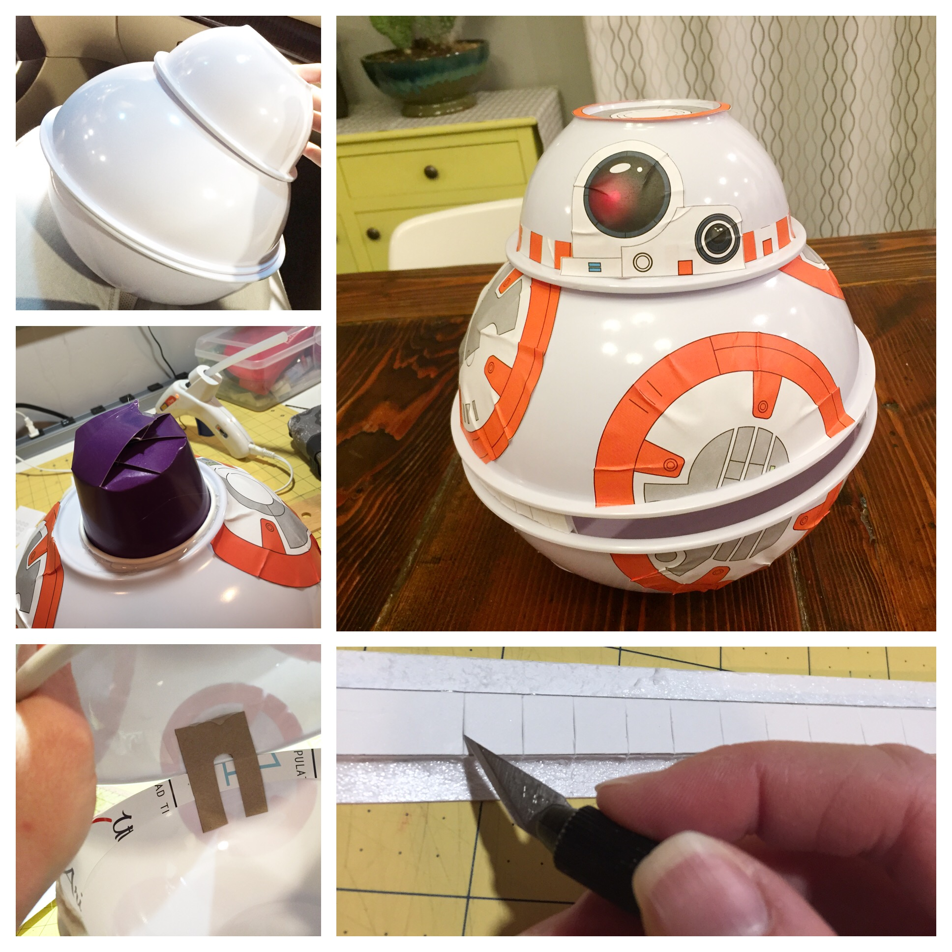 BB8 Valentines Day Box DIY with free printables! Makes this with three dollar store bowls and some double sided sticky tape!